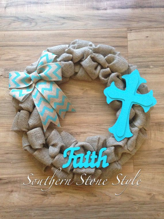 Burlap and turquoise wreath for front door, Christian faith wreath, cross wreath, rustic burlap wreath