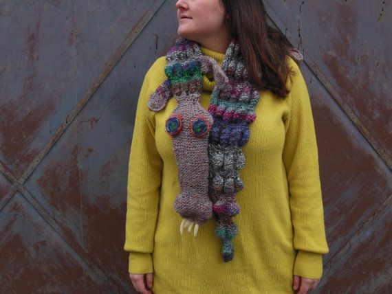 colorful alligator scarf hand knitted by giantscanfly