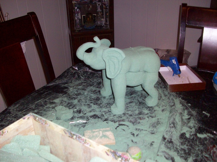 Elephant Floral Foam Carved This Elephant Out Of Floral