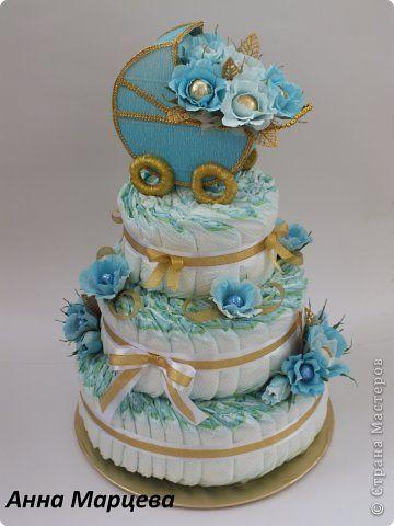 Всем привет! Вот вашему вниманию торт из памперсов для маленького карапуза Кирилла. Это мой первый торт из подгузников. фото 3