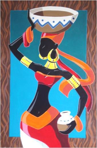 Modern Abstract Painting of an African Lady on her Daily by JDerez, $290.00