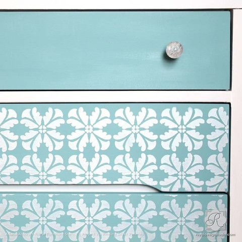 Metallic Silver and Blue Dresser with Painted Pattern - Adana Abstract Floral Furniture Stencils - Royal Design Studio