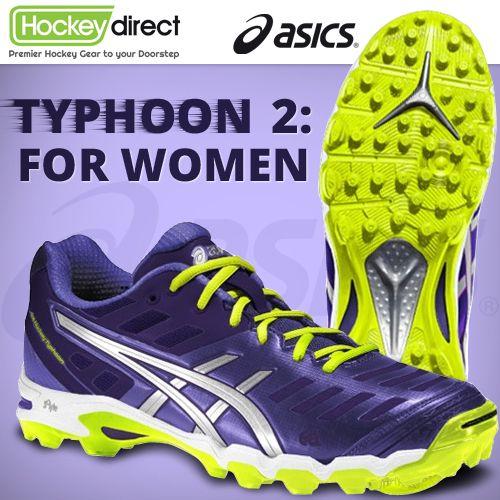 Asics Typhoon 2 Women Hockey Shoe: Lightweight and low-profile field hockey shoe designed specifically for offensive players. #hockey #FieldHockey #sport