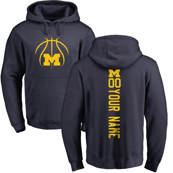 Michigan Wolverines Basketball Personalized Backer Pullover Hoodie - Navy - $69.99