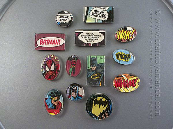 Comic Book Fans! Check out these awesome comic book magnets, so easy to make and perfect for any superhero fan :) From Amanda Formaro of Crafts by Amanda