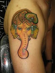 painted elephant tattoo