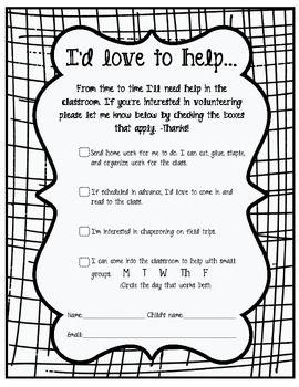 Parent Volunteer Document - love this format!
