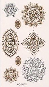 Gold and silver mini flash tattoos