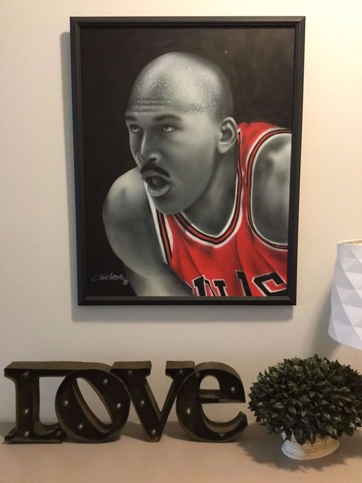 98 Original Acrylic Portrait Michael Jordan Bulls Framed Painting Fathers Day #ChicagoBulls