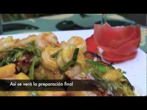 """Video con imágenes del paso a paso de la receta """"Filete & camarones en salsa de Mango y Puerro"""" por La Pescaderia gourmet"""
