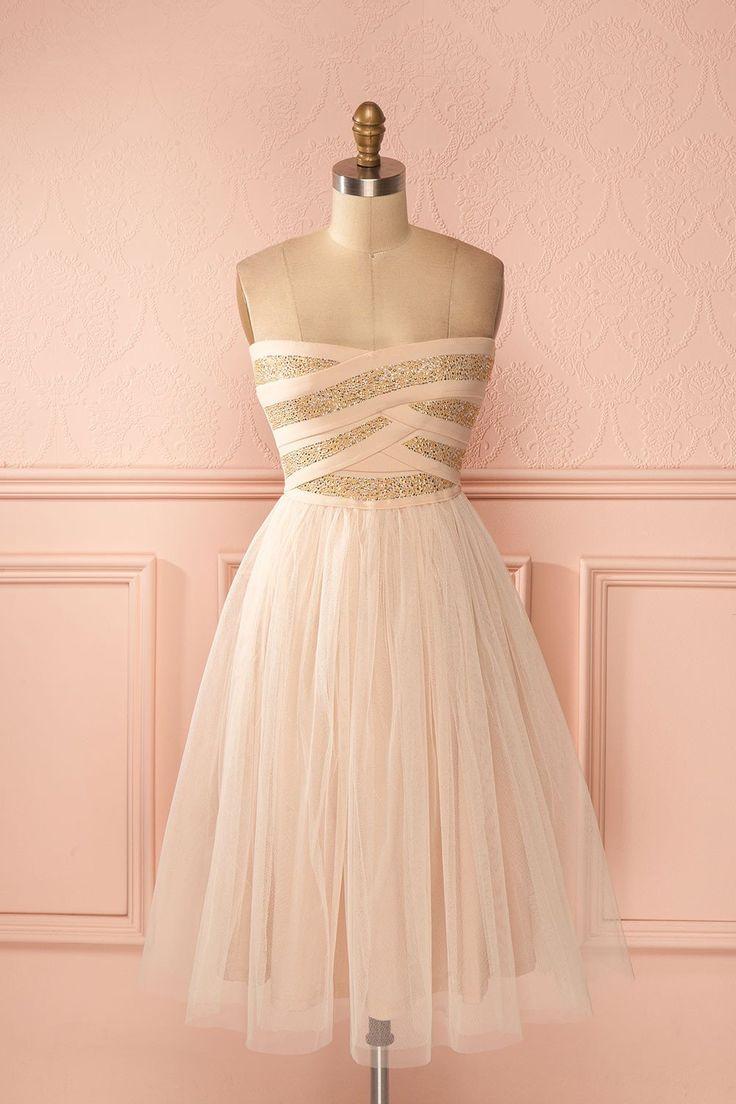 Robe rose boonbon tulle bustier doré - Golden pastel pink tulle strapless dress