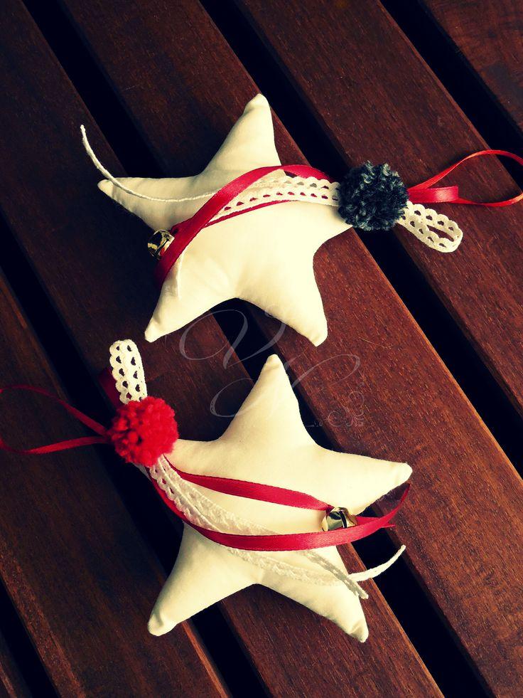 Χειροποίητα υφασμάτινα γούρια - αστέρια / Handmade fabric good luck charms - star