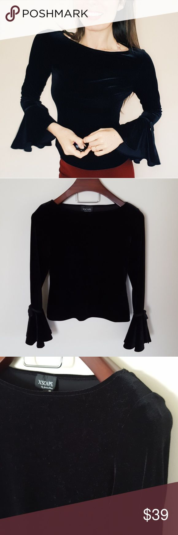 Xscape| Velvet black bell sleeve top | small In excellent condition! Beautiful velvet top with adorable sleeve detail! Small bows on sleeves. Size small. Stretch material, vintage style, sold at Nordstrom and other department stores  Used item: pictures show any signs of wear. Bundle up! Offers always welcome:) Xscape Tops