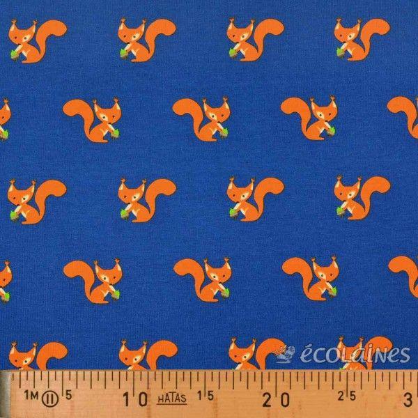 Tissu jersey pretty squirrel bleu