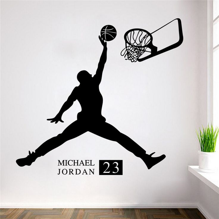 Sports Poster Basketball Wall Stickers NO.23 Michael Jordan Slam Dunk  Wallpaper For Kids Room