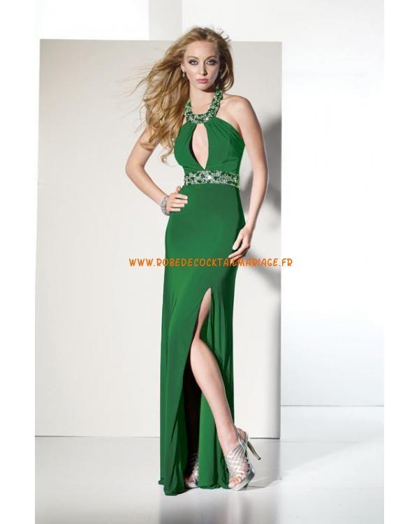 Belle robe simple verte glamour pas cher avec cristaux robe de soirée 2013
