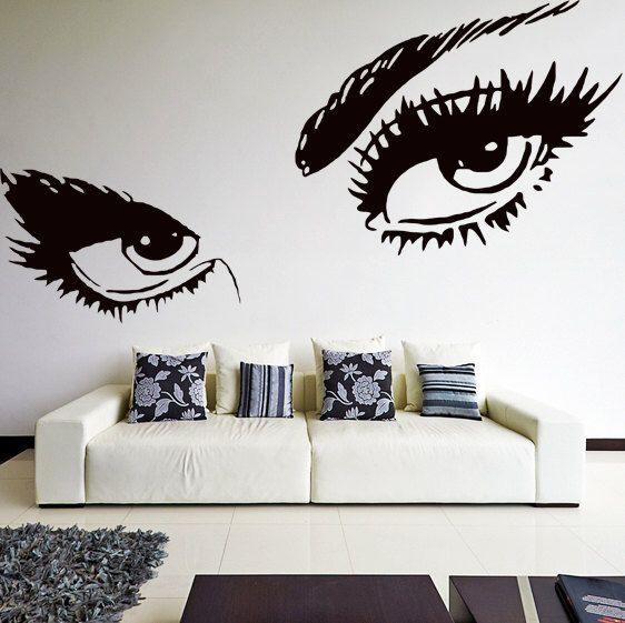 Vinyl Wall Decal Womens Eyes Silhouette / Sexy Teens Face Art Decor Removable Home Sticker / DIY Mural + Free Random Decal Gift! by DeliciousDeals on Etsy https://www.etsy.com/listing/193431640/vinyl-wall-decal-womens-eyes-silhouette