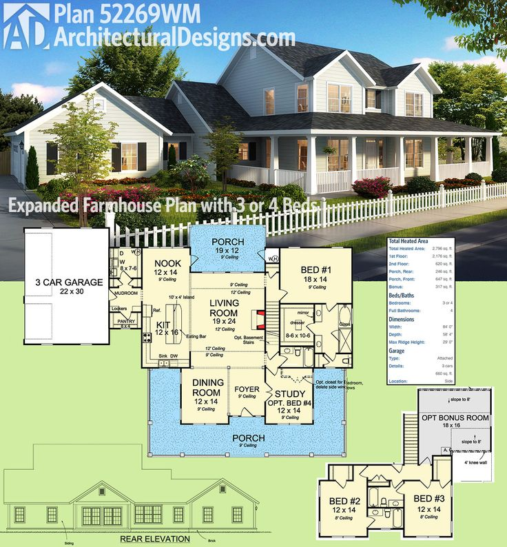 country farmhouse plan 52269wm 3 or 4 beds almost 2800 square feet ready - Farmhouse Plans