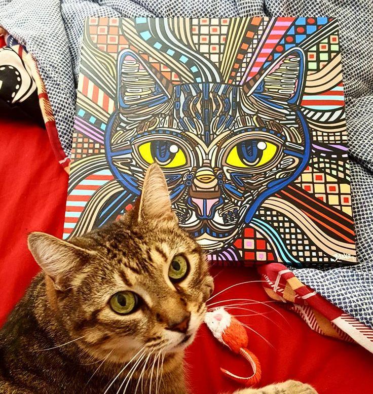 Oscar and his #portrait   #catart #catportrait #art #painting #psychedelic #color #original #artist #cat #catsofinstagram #everydayiscaturday #petportrait