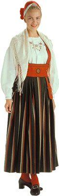Traditional Finnish folk costume, a woman´s dress representing the region of Orimattila