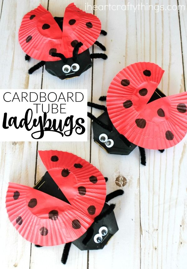 This darling cardboard tube ladybug craft is a great spring kids craft, insect craft for kids, recycled kids craft and ladybug kids craft.