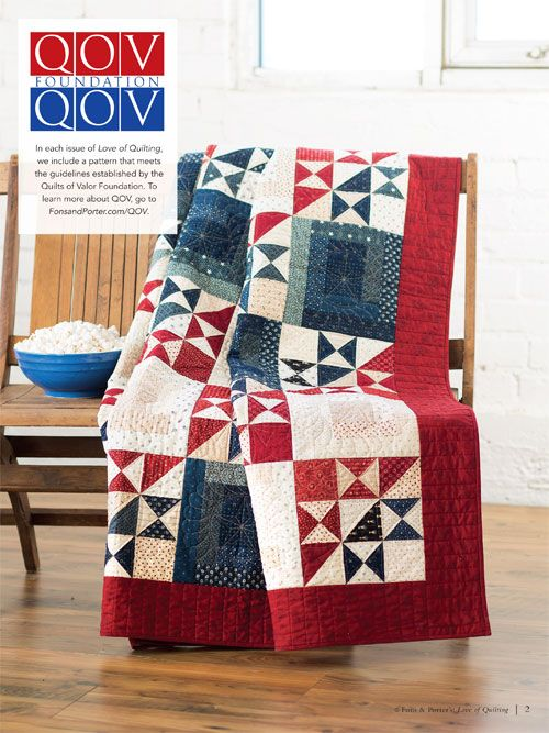 """My Country"" ~ patriotic Quilts of Valor design by Cheryl Miller in RW&B, 71"" x 89"" finished size, $7 digital pattern 