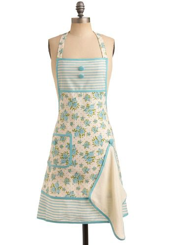 Cute apron with a button for a towel. Better than grandma's towen over her shoulder haha