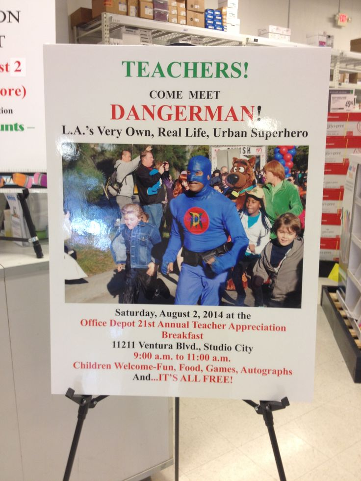 Come have Breakfast with DangerMan @ Office Depot  on Saturday August 2nd 9:00 AM to 1100 AM for Teacher's Appreciation  Day.