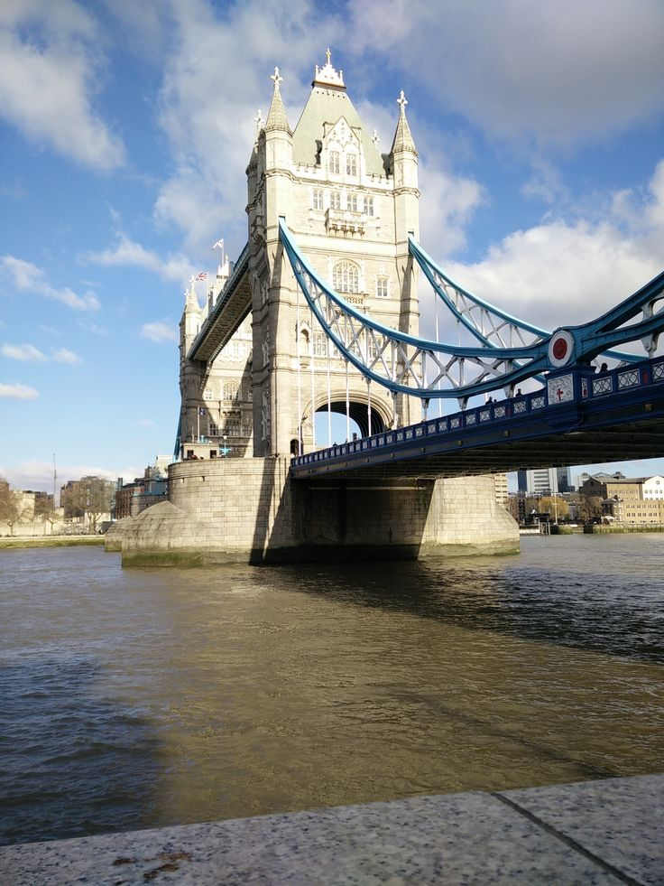 The Queen's Walk in London looking up to the iconic Tower Bridge