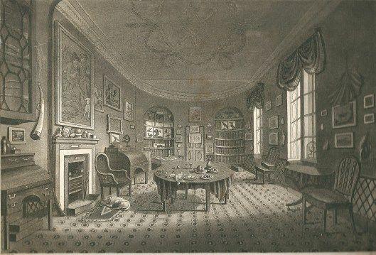 Gravure uit 1781 door E.Edwards van Strawberry Hill, Londen, ontworpen in Gotische stijl door eigenaar en kunthistoricus Horace Walpole omstreeks 1753