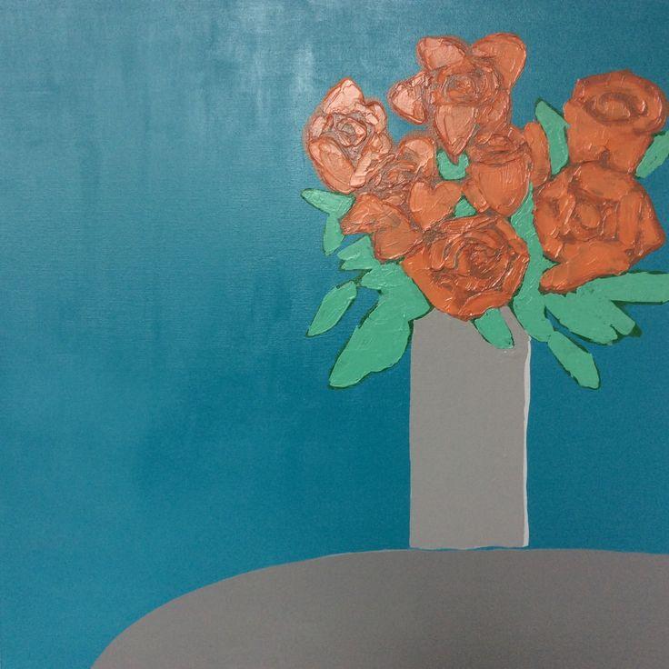 Orange Roses Art Abstract Floral Painting (Daniela Kiss - Orange Roses) Acrylic on canvas 76X76cm
