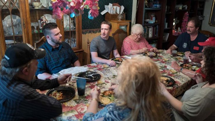 Facebook founder and CEO Mark Zuckerberg stopped in Newton Falls for dinner Friday night.
