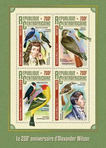 CA16314a 175th anniversary of Alexander Wilson (Alexander Wilson (1766-1813) American Ornithology, 1829, Passerina caerulea, Fringilla passerine; Regulus calendula, Buteo jamaicensis; Melanerpes lewis, Piranga ludoviciana; Certhia americana)