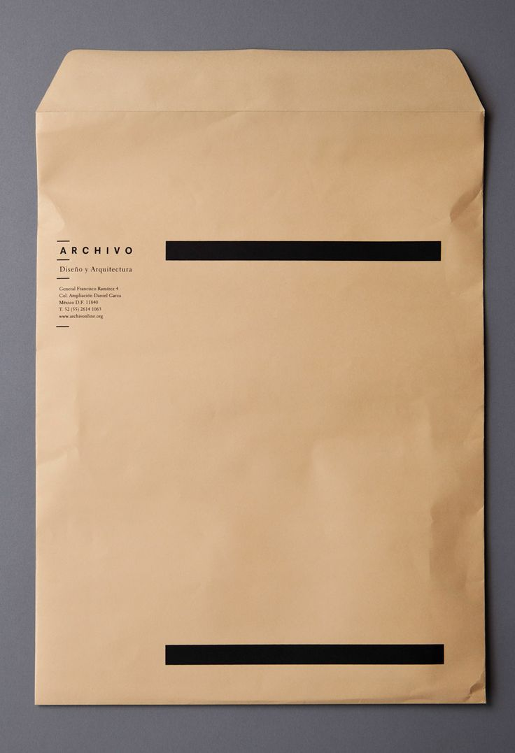 archivo envelope -- use of white space and black (simple solid) shapes, minimalist