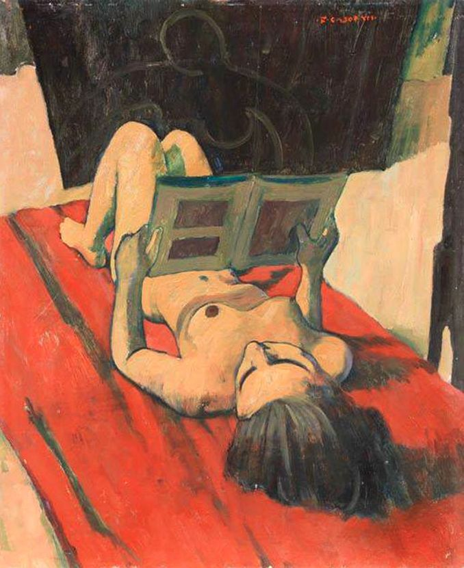 Painting by Felice Casorati (1882-1963), 1943, Nudo (Nudo disteso che legge).