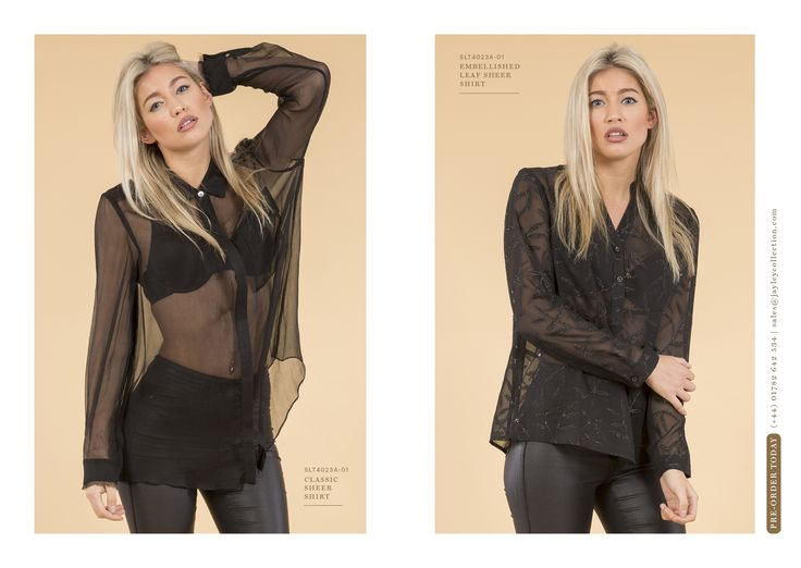 Jayley Summer Preview 2016 After Dark - Luxurious sheer shirts  from the new collection www.jayley.com