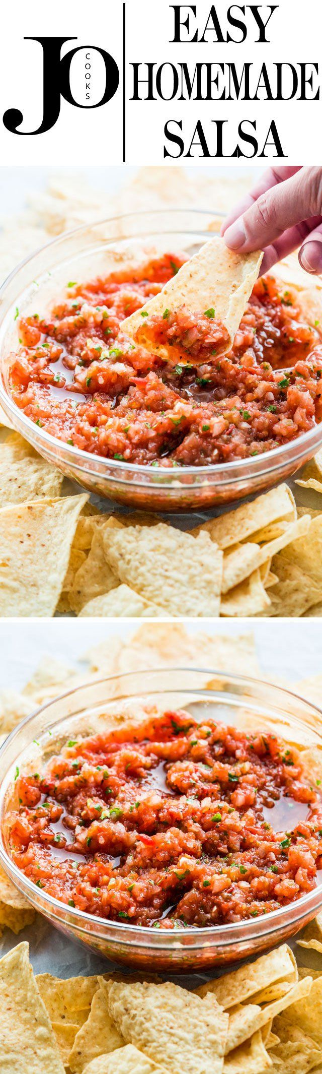 Homemade Salsa with fresh ingredients and full of flavor, just like the one you're served at your favorite restaurant! This restaurant style salsa is made with roasted tomatoes and onions which enhances all the flavors. Delicious and simple!