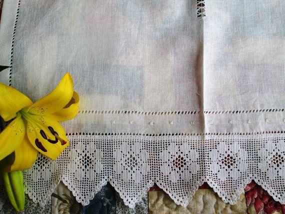 Linen and Lace net curtains  Hemstitched Linen by linenartisan  – Linen and lace curtains