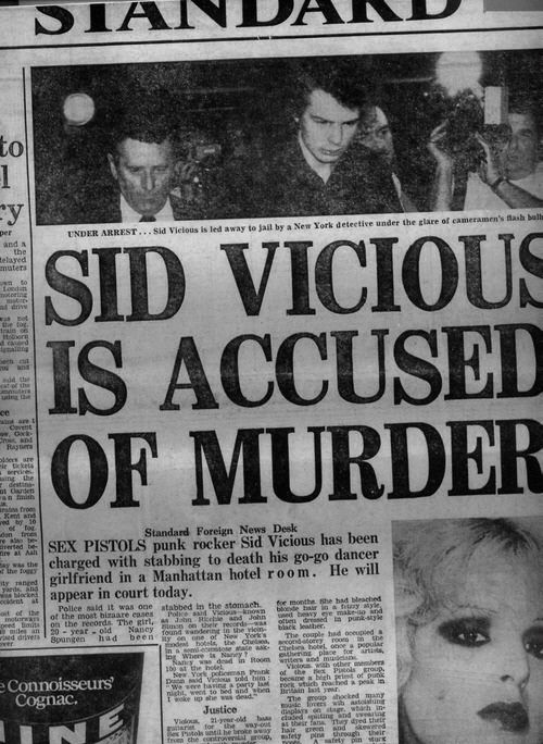 Sid Vicious is accused of murder  for my @Sydney Newton: Music, Metals Punk Grunge Alternative, Sex Pistols, Posts, Nancy Spungen, Vicious Accusations, Murders, Sid Vicious, Nancy Reality