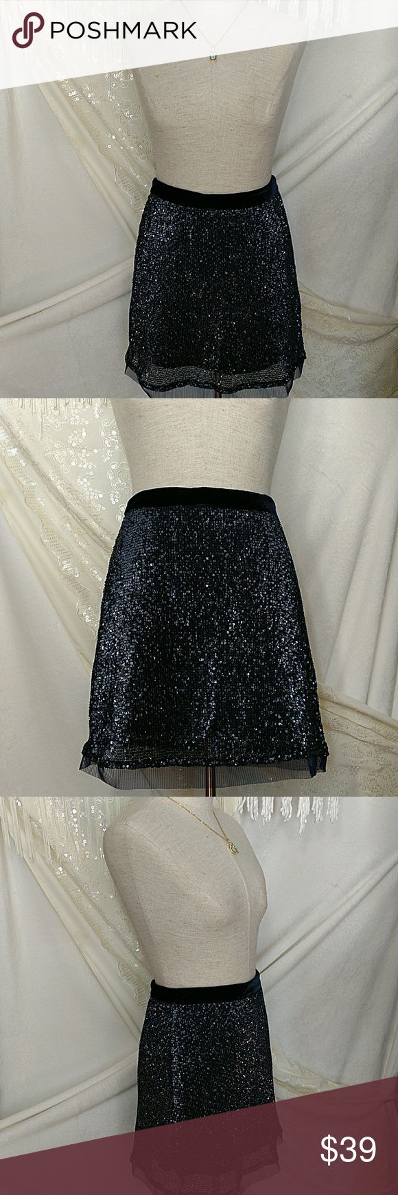 """NWT!  Free People Wild Child Sequin Mini Skirt Girl!  Get your party started in this FAB mini skirt!  A-line silhouette w/slender velvet waistband and mesh hem.  Concealed zipper closure.  Lined.  Polyester/trim and lining: rayon.  Hand wash only.  Length:. Approx 17"""" waist to hem.   Color:. Slate Free People Skirts Mini"""