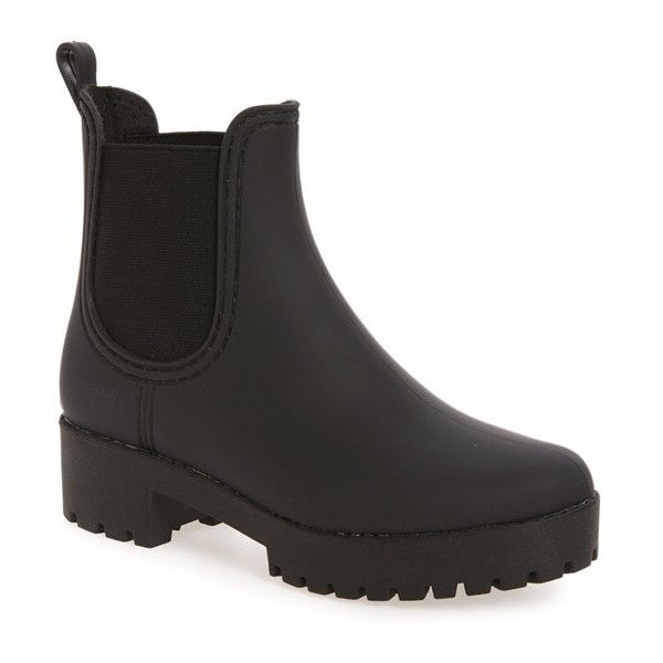 Women's Jeffrey Campbell Cloudy Chelsea Rain Boot ($55) ❤ liked on Polyvore featuring shoes, boots, black matte black, jeffrey campbell boots, black faux leather boots, vegan leather boots, black boots and wellies boots