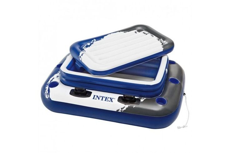 Comprar Nevera flotante Intex fabricada de vinilo con un grosor de 0,4 mm. Tiene capacidad para 72 latas de refrescos y hielo. La nevera hinchable incluye: