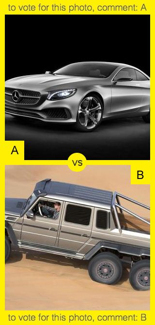 To vote for top photo comment A, to vote for bottom photo comment B. See results at http://swingvoteapp.com/#!polls/71. Click here http://swingvoteapp.mobi/ to install Swingvote mobile app and create your own polls.