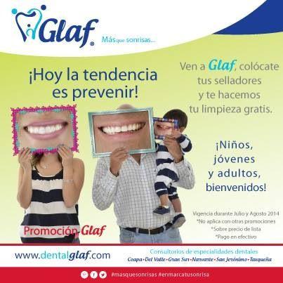 ¡Protégete de las caries! ¿Con qué? ¡Con los selladores y una limpieza profesional!  #PromociónGlaf #salud #dentista #df #familia #mujer #niños