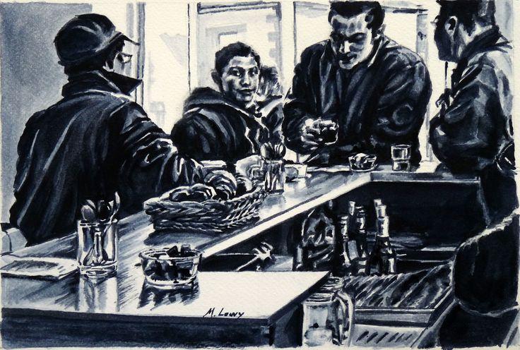 """""""Au bar"""" Fête des Galvachers, Anost, lavis d'encre, Monique Lowy."""