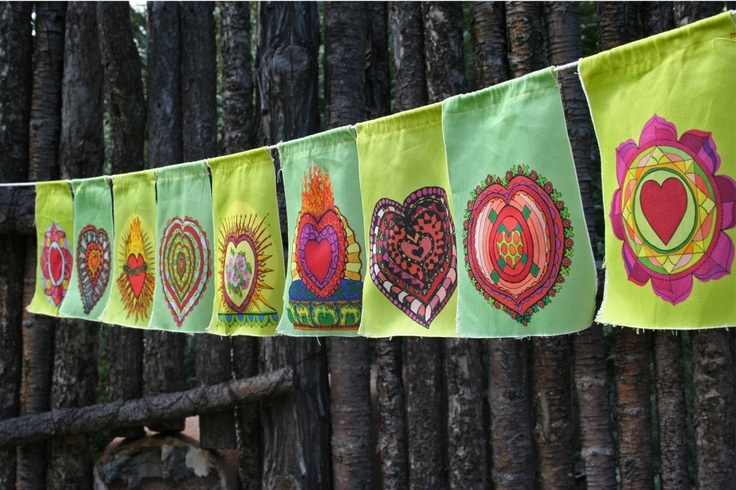 Heart prayer flags