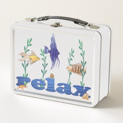 Relax Ocean Tropical Fish Metal Lunch Box - watercolor gifts style unique ideas diy