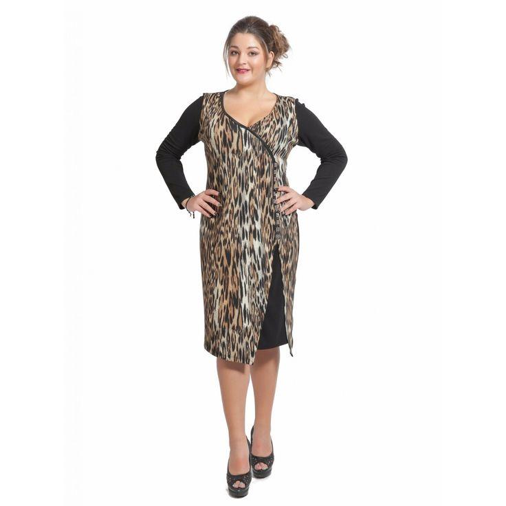 Φόρεμα animal δίχρωμο (5752)