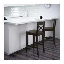 Bar Stool With Backrest Ingolf Brown Black Ikea Ikea