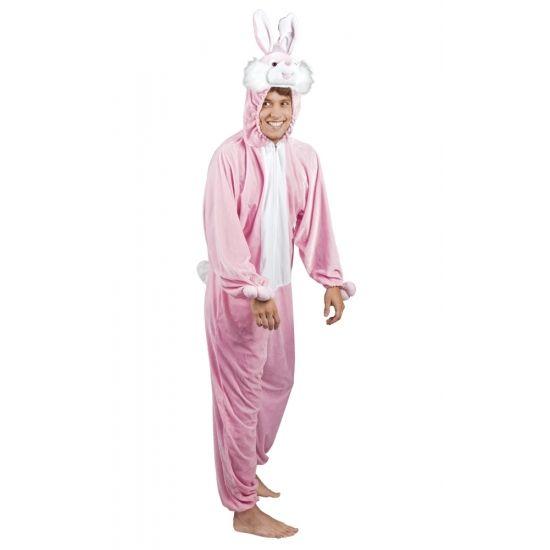 Roze konijn / haas kostuum voor heren. Dit konijnen/ hazen dieren kostuum is gemaakt van 100% polyester. De pluche onesie is van schouder tot enkel 1,95 meter, geschikt voor maat M tot XL. De capuchon met gezicht zit aan het pak vast.
